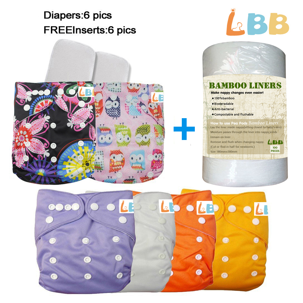 LBB(TM) Baby Resuable Washable Pocket Cloth Diaper With Adjustable Snap,6 pcs+ 6 inserts+1 roll