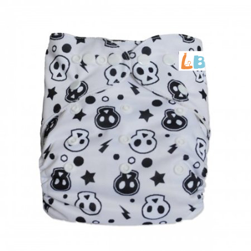 LBB(TM) Baby Resuable Washable Pocket Cloth Diaper,White Skulls