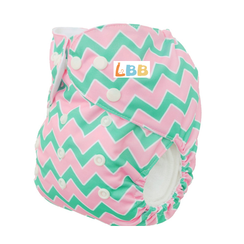 LBB(TM) Baby Resuable Washable Pocket Cloth Diaper,Pink-Green Stripes