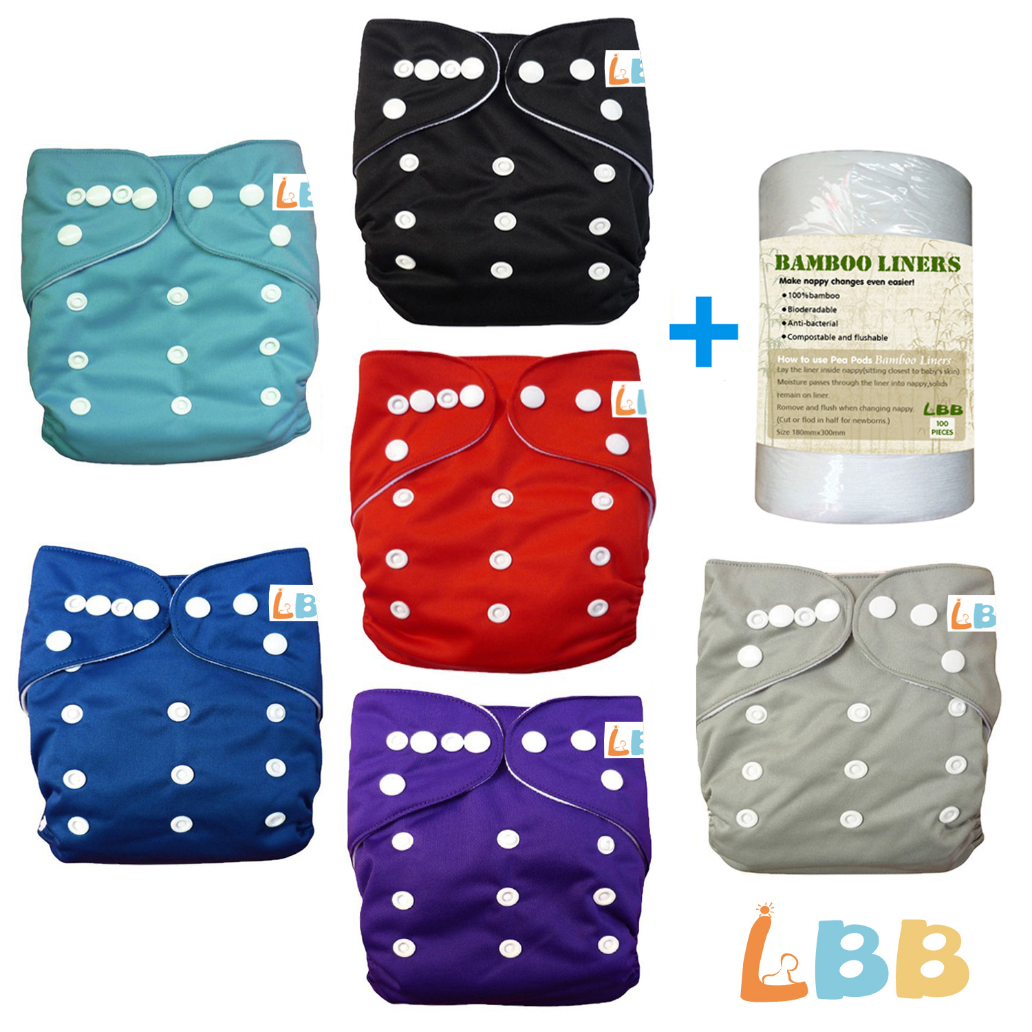 LBB(TM) Baby 6pcs+1 roll of liner Pack Pocket Adjustable Cloth Diaper?(Boy Color) 6BM99