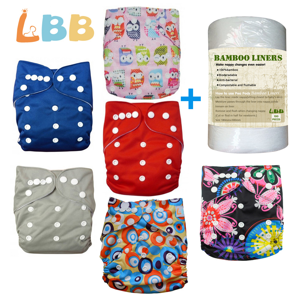 LBB(TM) Baby Double Rows of Snaps 6pcs+1 roll of liner Pack Fitted Pocket Washable Adjustable C