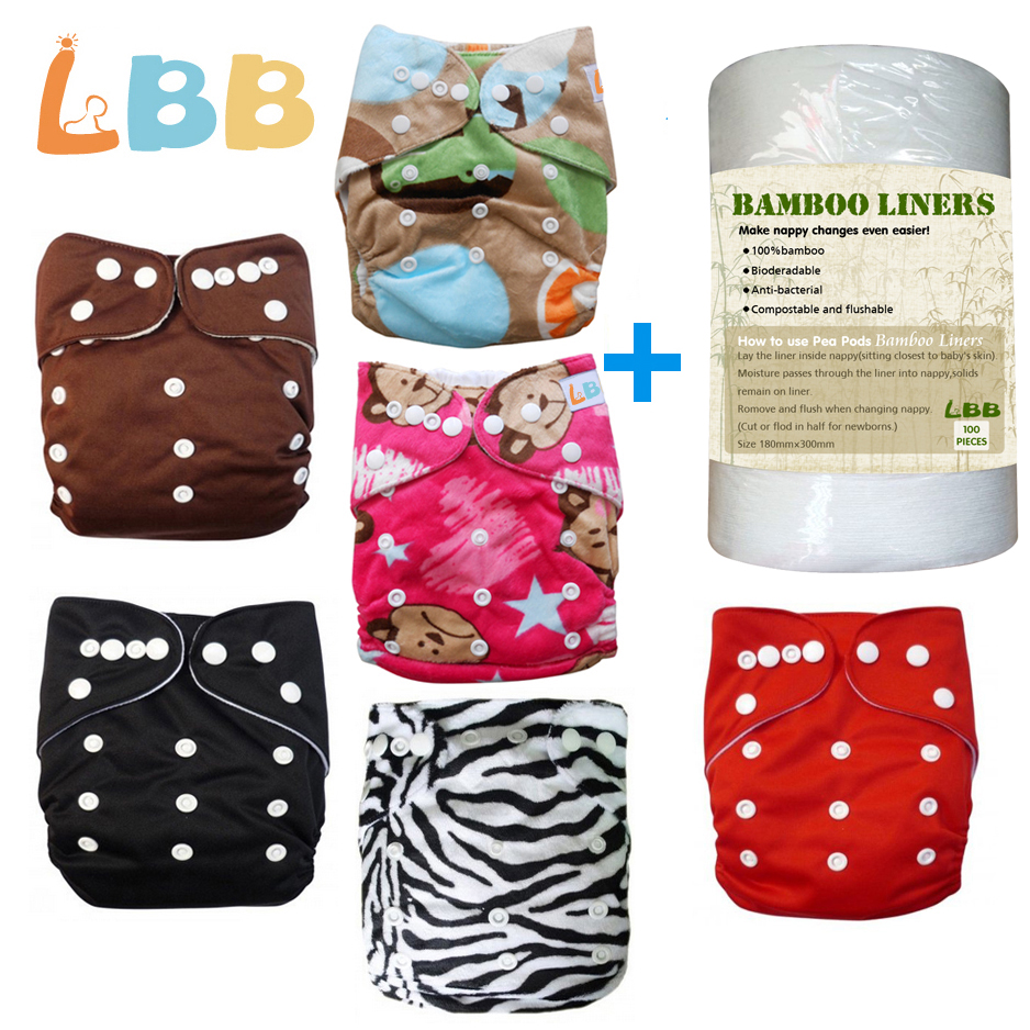 LBB(TM)Baby Double Rows of Snaps 6pcs+1 roll of liner Pack Fitted Pocket Washable Adjustable Cl