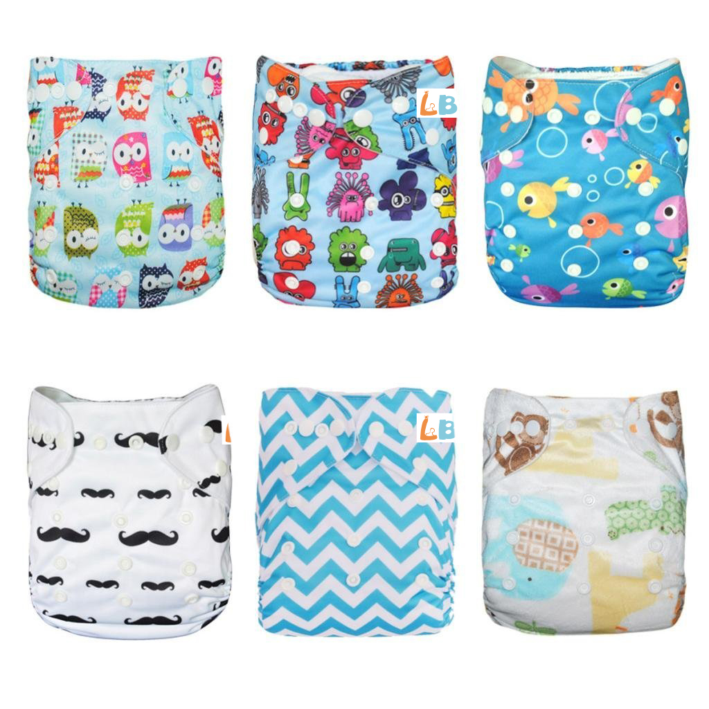 LBB(TM) Baby Resuable Washable Pocket Cloth Diaper With Adjustable Snap,6 pcs+ 6 inserts,Fish