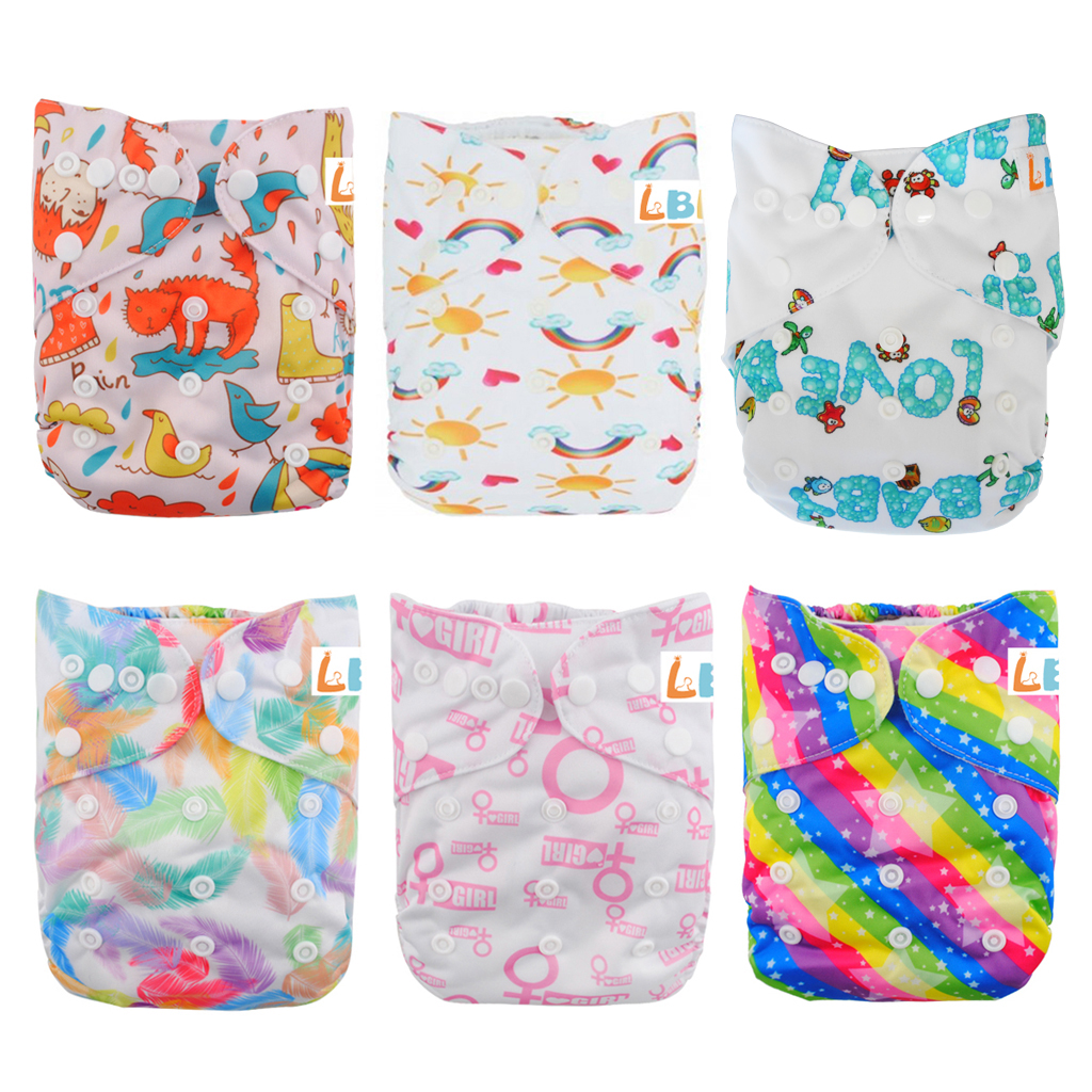 LBB(TM) Baby Resuable Washable Pocket Cloth Diaper With Adjustable Snap,6 pcs+ 6 inserts for gir