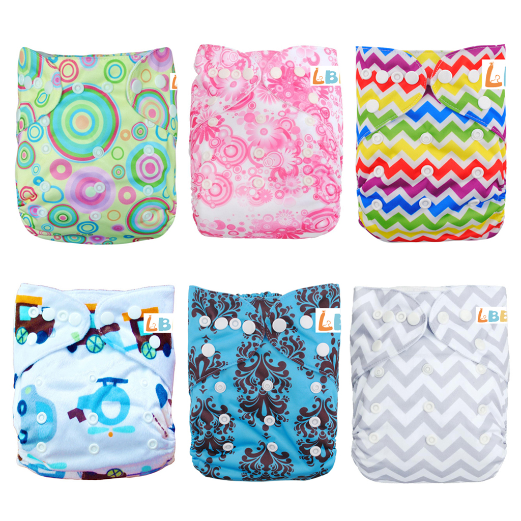 LBB(TM) Baby Resuable Washable Pocket Cloth Diaper With Adjustable Snap,6 pcs+ 6 inserts,(Girl C