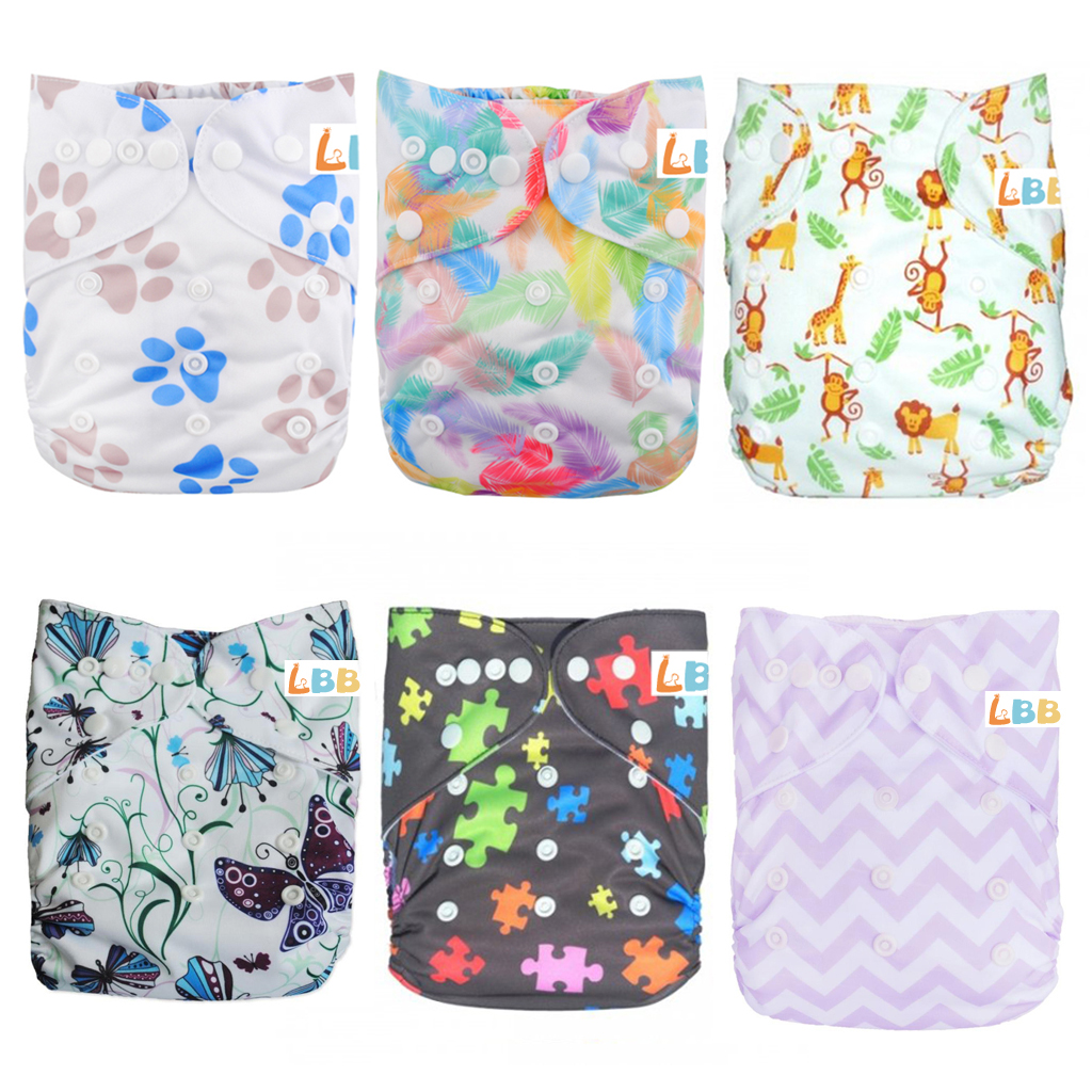 LBB(TM) Baby Resuable Washable Pocket Cloth Diaper With Adjustable Snap,6 pcs+ 6 inserts,(Netura