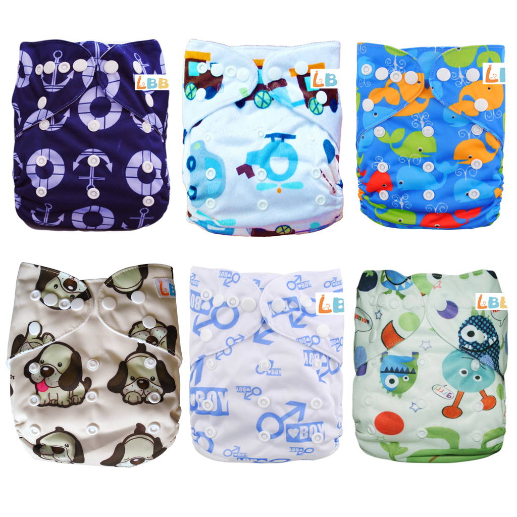 LBB(TM) Baby Resuable Washable Pocket Cloth Diaper With Adjustable Snap,6 pcs+ 6 inserts,(Boy Co