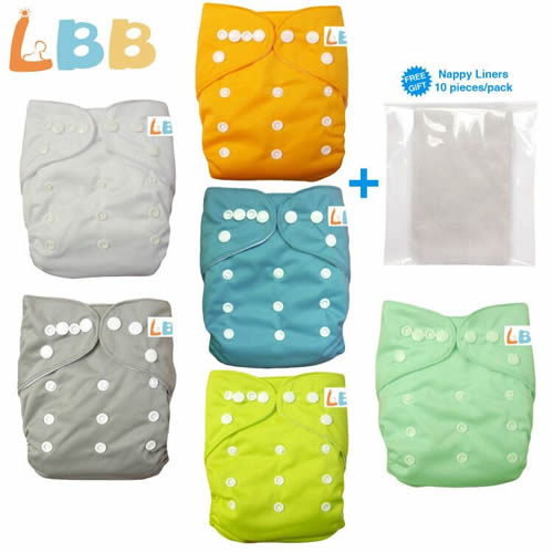Baby Double Rows of Snaps 6pcs Pack Fitted Pocket Washable Adjustable Cloth Diaper